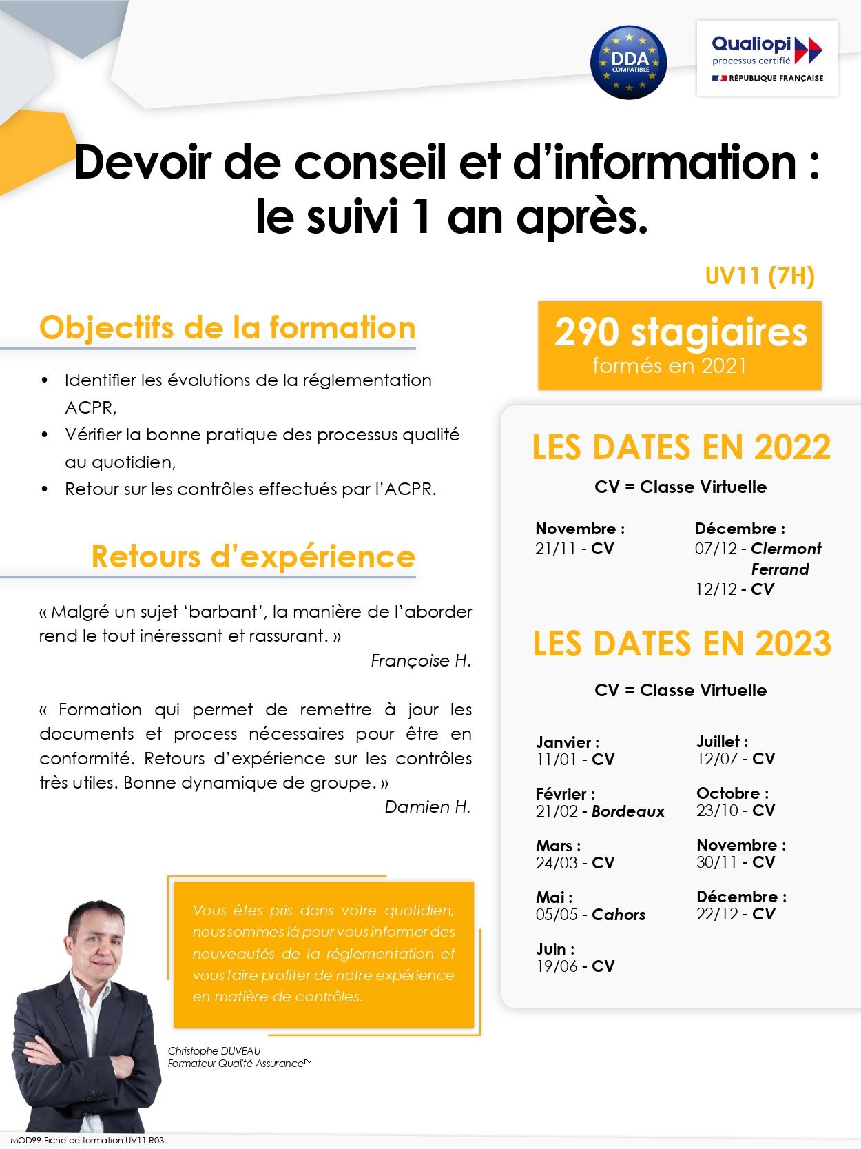UV 11  - Perfectionnement du Devoir de Conseil et d'Information : nouvelles exigences de service